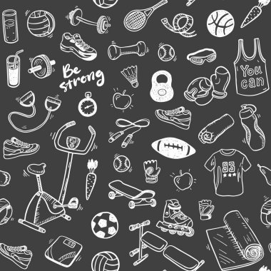 Pattern  with sport and healthy elements