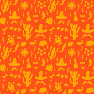 pattern with mexican festive symbols