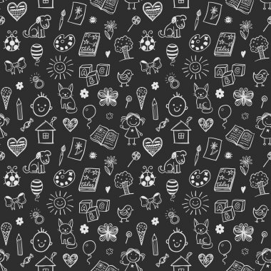 Seamless pattern with children drawings