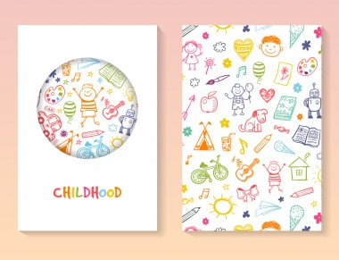 brochure template with children drawing
