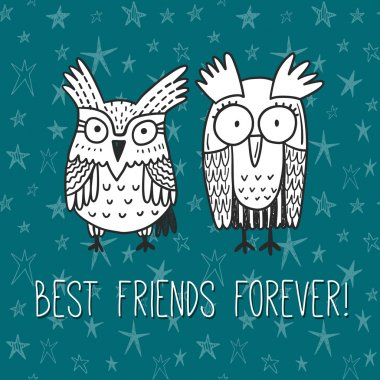 Best friends forever. Vector greeting card with funny doodle owls clip art vector