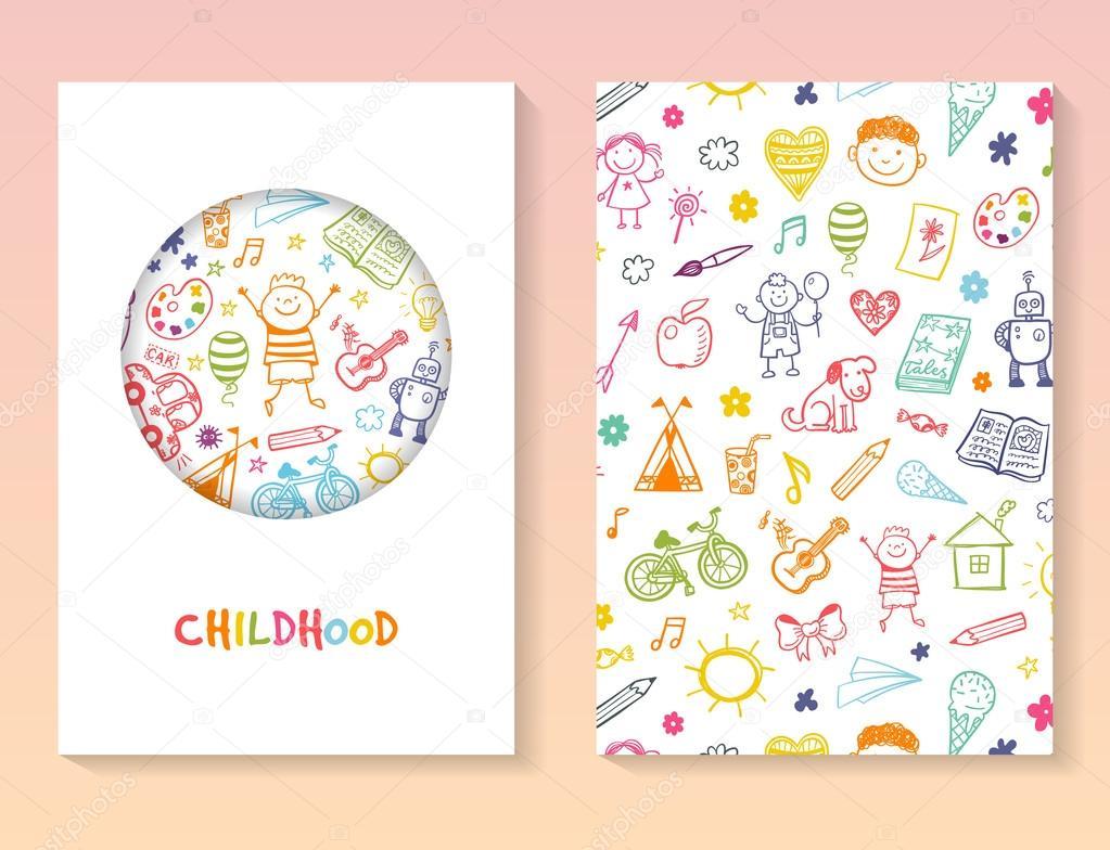 Broschüre Vorlage Mit Kindern Zeichnen Stockvektor Teploleta