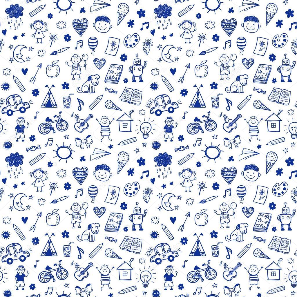 Nahtlose Muster Mit Doodle Kinder Zeichnen Stockvektor Teploleta