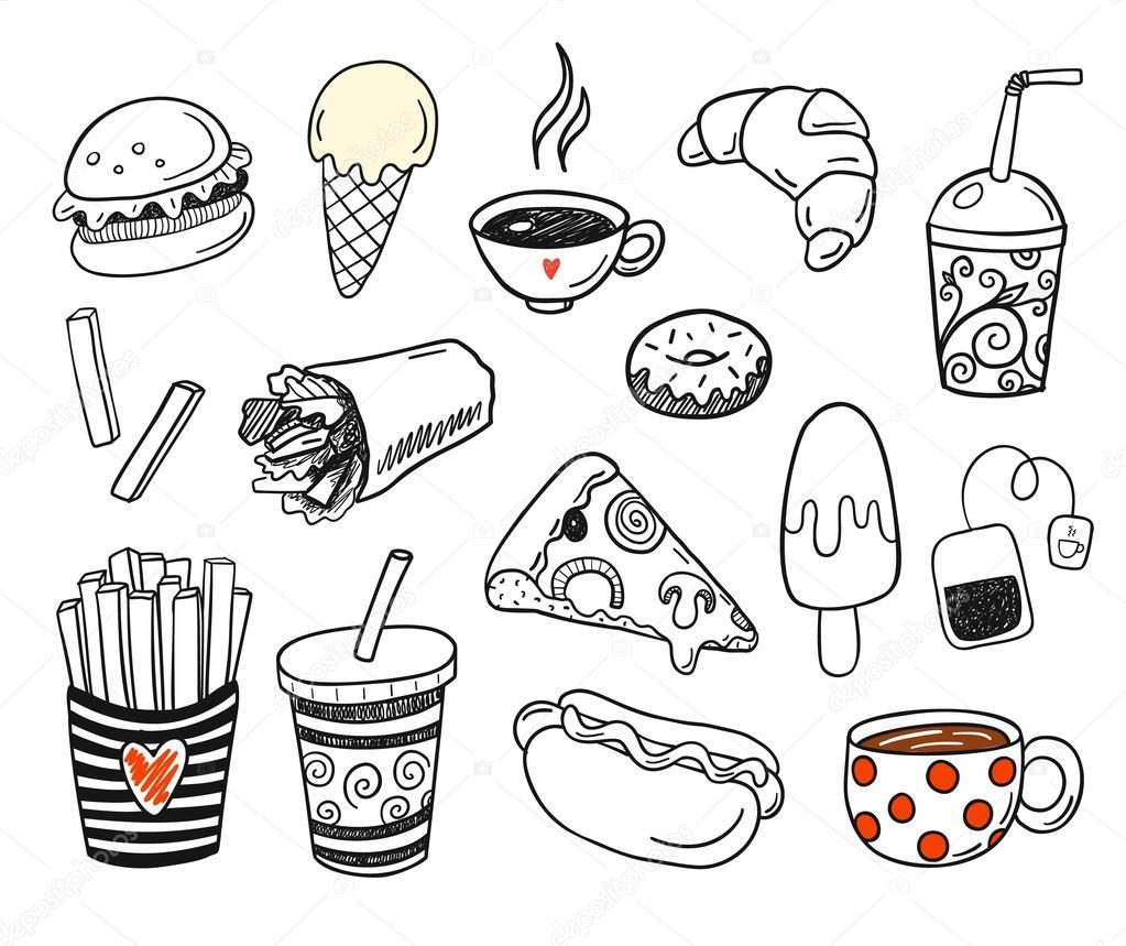 Dibujos Comida Chatarra Para Colorear Doodle Conjunto De