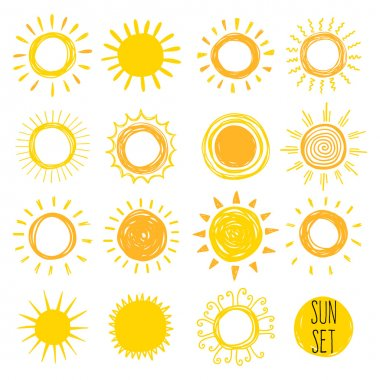 Vector illustration design of Hand drawn set of yellow Funny suns stock vector