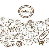 Hand drawn seamless bakery border.