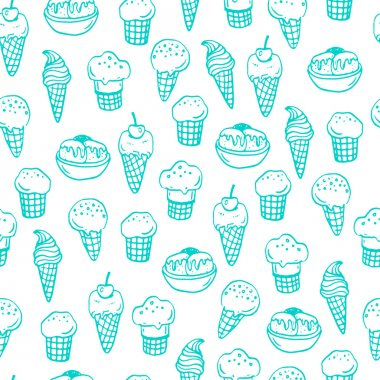 Seamless pattern with ice creams.