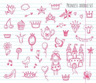 Hand drawn set of princess elements