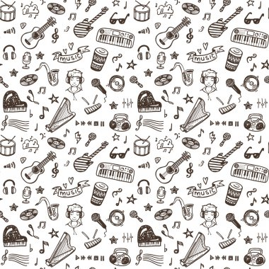 Hand drawn musical instruments collection seamless pattern. Music set. clip art vector