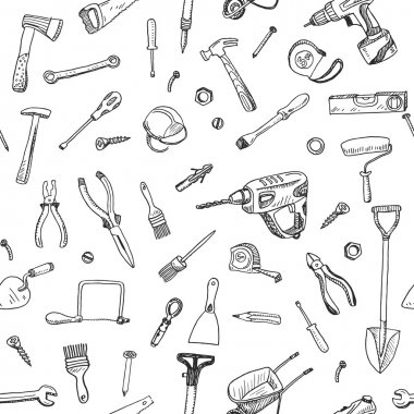 Hand drawn seamless pattern of tools