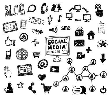 social media  symbol doodles elements.