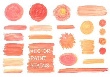 Set of vector oil painting texture stains isolated on white. Make up, wedding colors. stock vector