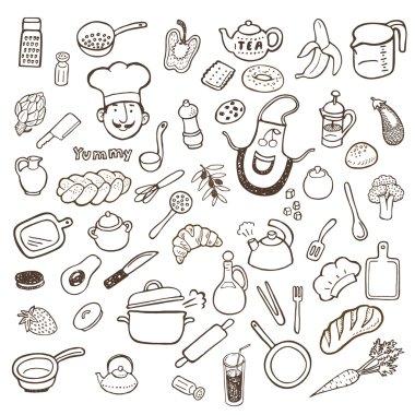 Kitchen utensils and food hand drawn set