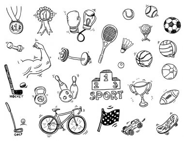 sport doodle icons set