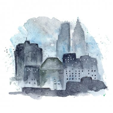 urban watercolor landscape