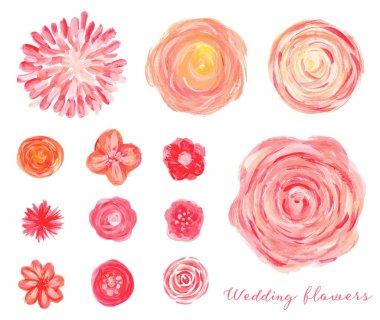 Hand drawn wedding flowers set.