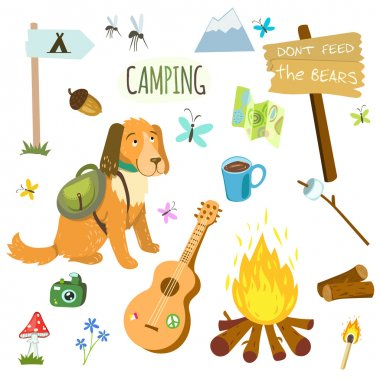 Set of camping equipment and objects