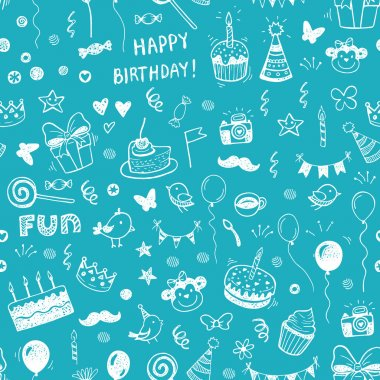Happy birthday seamless hand drawn background pattern in vector stock vector