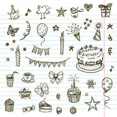 Birhday elements doodle collection.