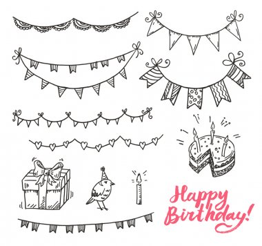 Happy dirthday doodle elements set.
