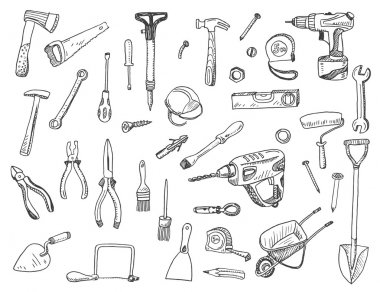 Hand drawn set of construction tools