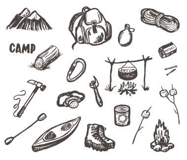 Hand drawn camping sketch set.