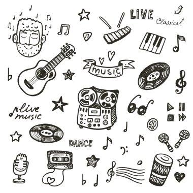 Hand drawn music set.