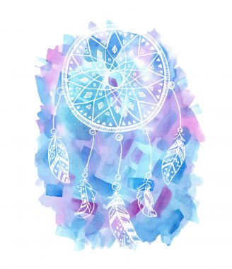 Hand drawn watercolor dreamcatcher