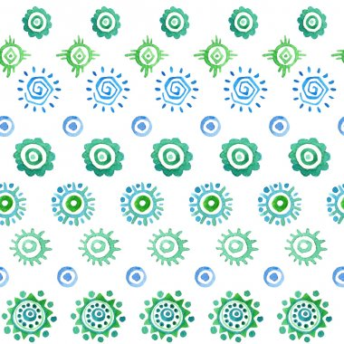 seamless watercolor pattern with etnic suns.