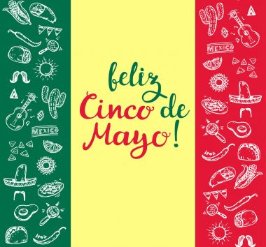 Happy Cinco de Mayo greeting card. Hand drawn calligraphic letters on a watercolor background. Vector . clip art vector