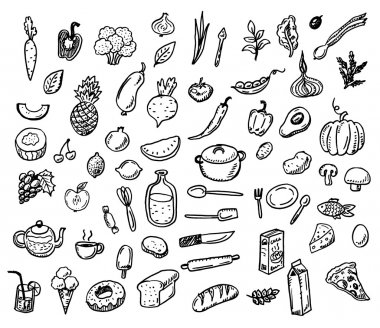doodle healthy food icons set