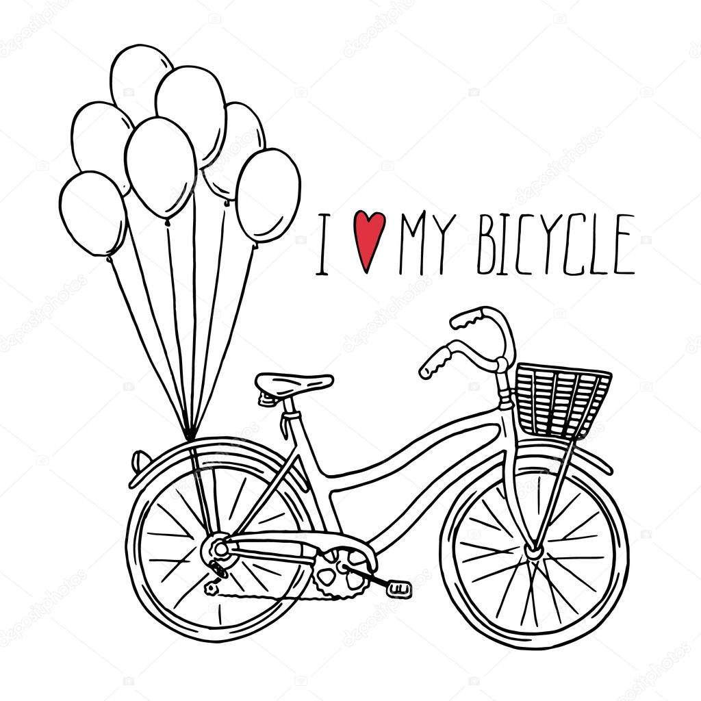 Hand Drawn Bicycle With Balloons Stock Vector C Teploleta 73363463