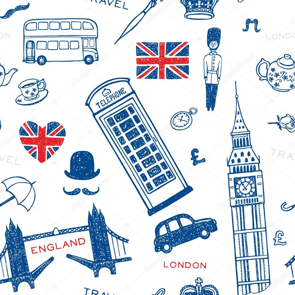 patrón con monumentos y símbolos de Inglaterra — Archivo Imágenes ...