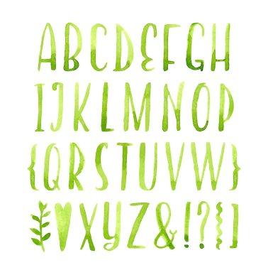 green watercolor  alphabet