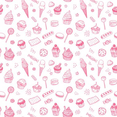 Hand drawn sweets seamless pattern