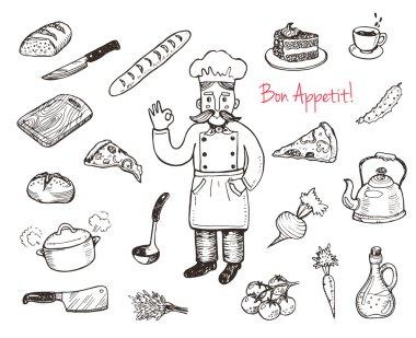 Kitchen utensils and food set