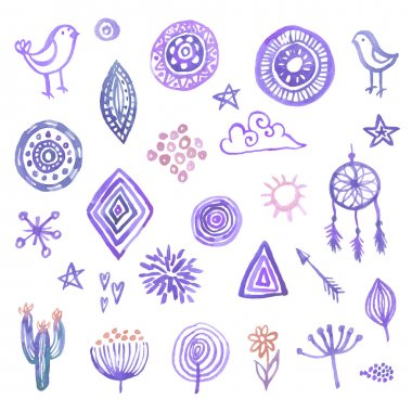 Hand drawn watercolor design elements set for your design clip art vector