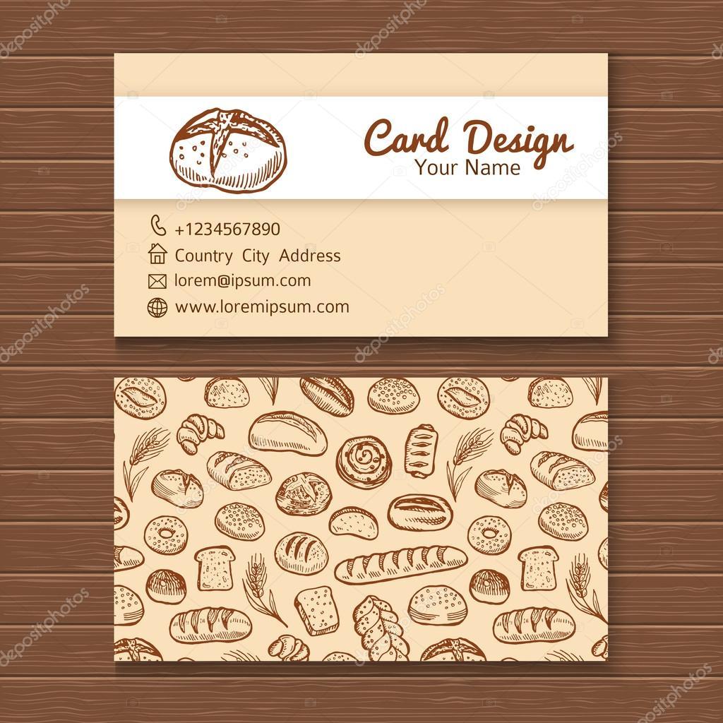 Plantilla de tarjeta de visita con conjunto de panadería — Archivo ...