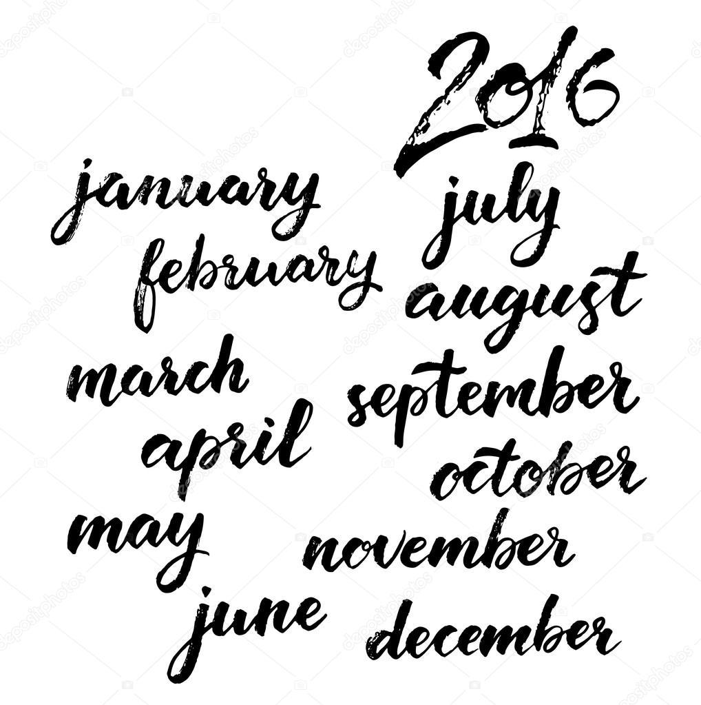 year months set stock vector teploleta 88205528 Cat 2016 Calendar calendar 2016 brush handwritten calligraphy vector by teploleta