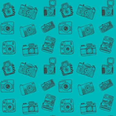 hand drawn retro cameras