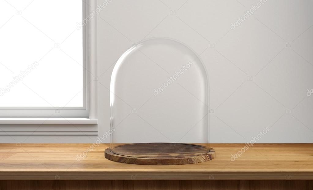 Vassoi In Legno Con Vetro : Cupola di vetro con vassoio in legno sulla tavola di legno u foto