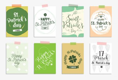 Set of cards for St. Patricks day. Typographic design elements