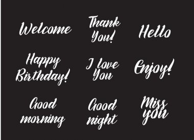 Set of positive inscriptions and phrases. Greeting card with calligraphy. Hand drawn design.