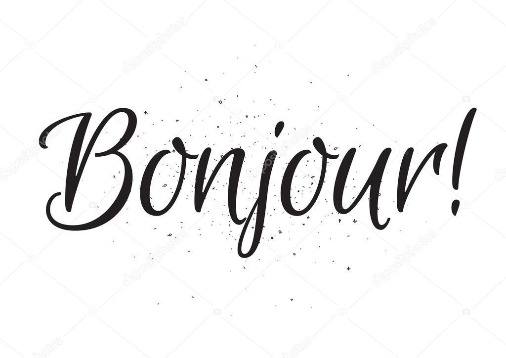 Bonjour надпись открытка с каллиграфией рисованной дизайн