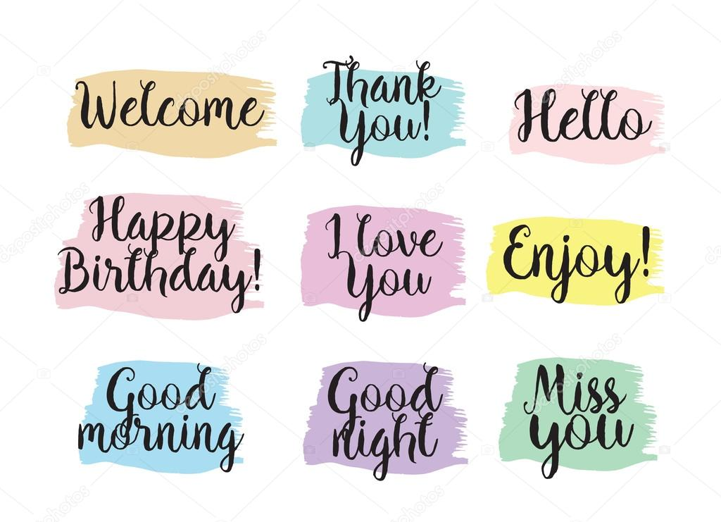 Set of positive inscriptions and phrases greeting card with set of inspirational inscriptions and phrases thank you hello happy birthday good morning i love you greeting card with calligraphy bookmarktalkfo Choice Image