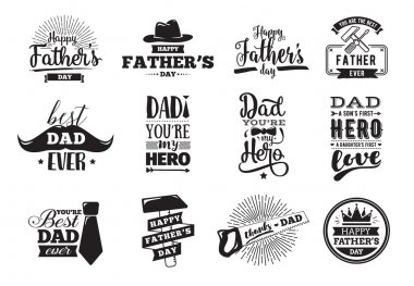 Happy fathers day set. Vector typography. Vintage lettering for greeting cards, banners, t-shirt design. You are the best dad. stock vector