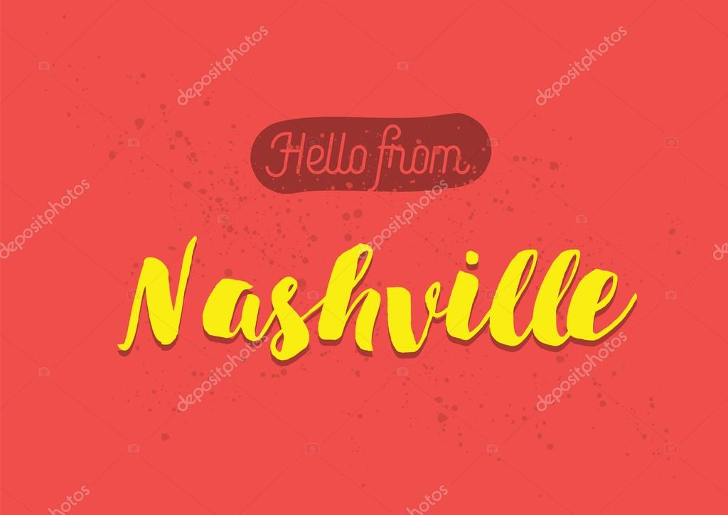 Hello from nashville america greeting card with lettering design hello from nashville america greeting card with lettering design stock vector m4hsunfo