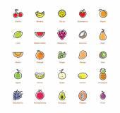 Ovocné sady ikony. Barevné provedení