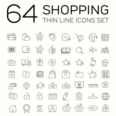 E-commerce and shopping icons. Thin line design.