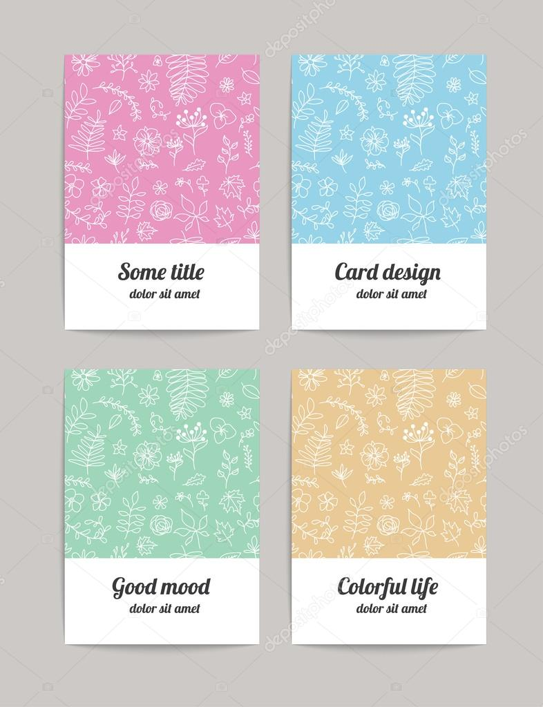 Set of four floral business cards, invitations or announcements.